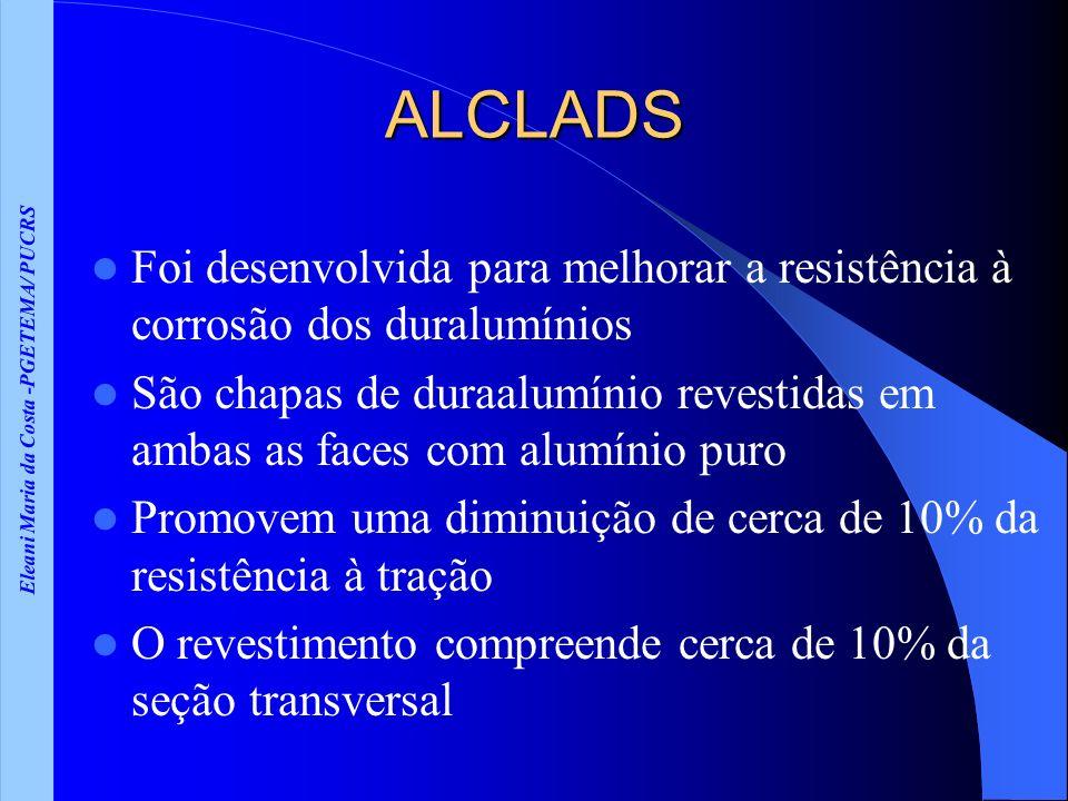 Eleani Maria da Costa -PGETEMA/ PUCRS ALCLADS Foi desenvolvida para melhorar a resistência à corrosão dos duralumínios São chapas de duraalumínio reve