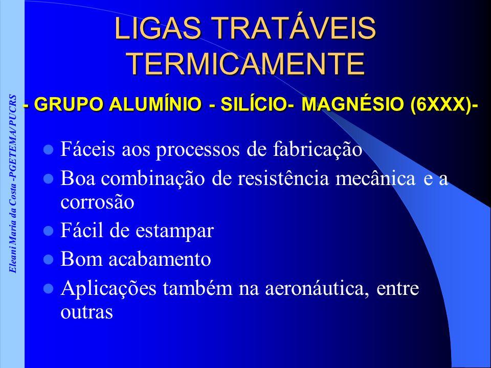 Eleani Maria da Costa -PGETEMA/ PUCRS LIGAS TRATÁVEIS TERMICAMENTE - GRUPO ALUMÍNIO - SILÍCIO- MAGNÉSIO (6XXX)- Fáceis aos processos de fabricação Boa combinação de resistência mecânica e a corrosão Fácil de estampar Bom acabamento Aplicações também na aeronáutica, entre outras