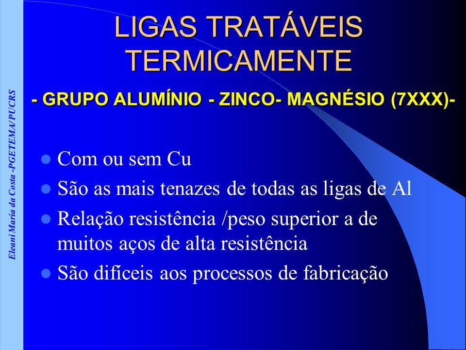 Eleani Maria da Costa -PGETEMA/ PUCRS LIGAS TRATÁVEIS TERMICAMENTE - GRUPO ALUMÍNIO - ZINCO- MAGNÉSIO (7XXX)- Com ou sem Cu São as mais tenazes de tod