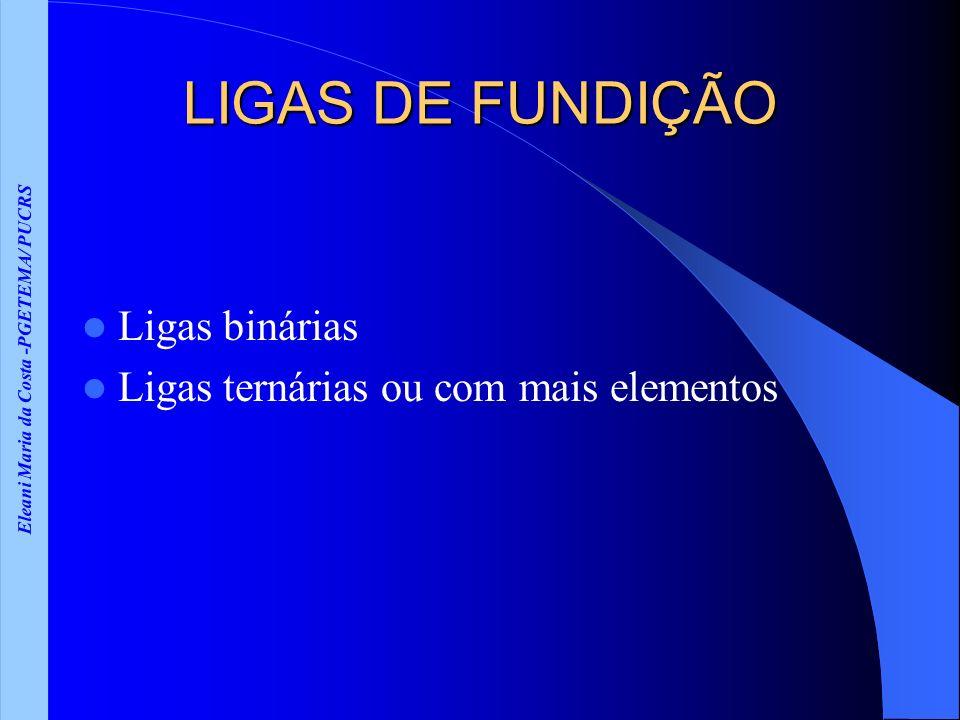Eleani Maria da Costa -PGETEMA/ PUCRS LIGAS DE FUNDIÇÃO Ligas binárias Ligas ternárias ou com mais elementos