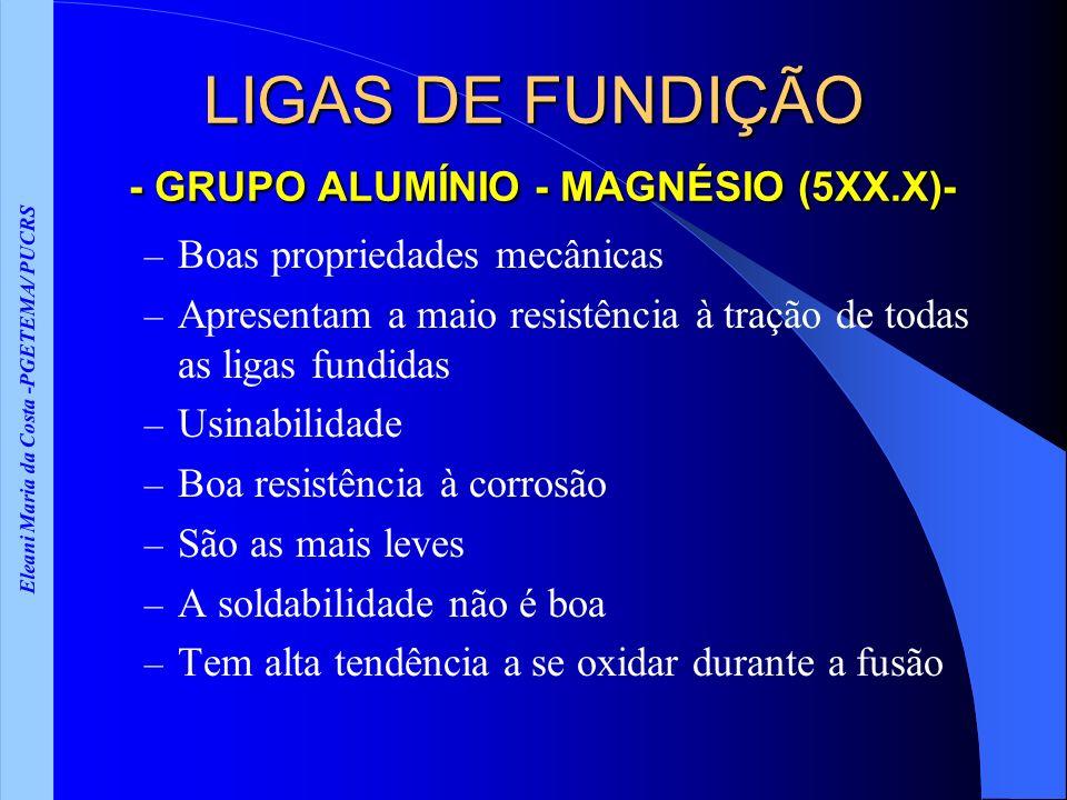 Eleani Maria da Costa -PGETEMA/ PUCRS LIGAS DE FUNDIÇÃO - GRUPO ALUMÍNIO - MAGNÉSIO (5XX.X)- – Boas propriedades mecânicas – Apresentam a maio resistê