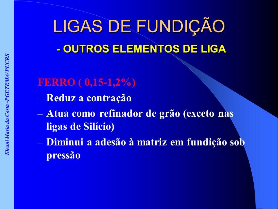 Eleani Maria da Costa -PGETEMA/ PUCRS LIGAS DE FUNDIÇÃO - OUTROS ELEMENTOS DE LIGA FERRO ( 0,15-1,2%) – Reduz a contração – Atua como refinador de grã