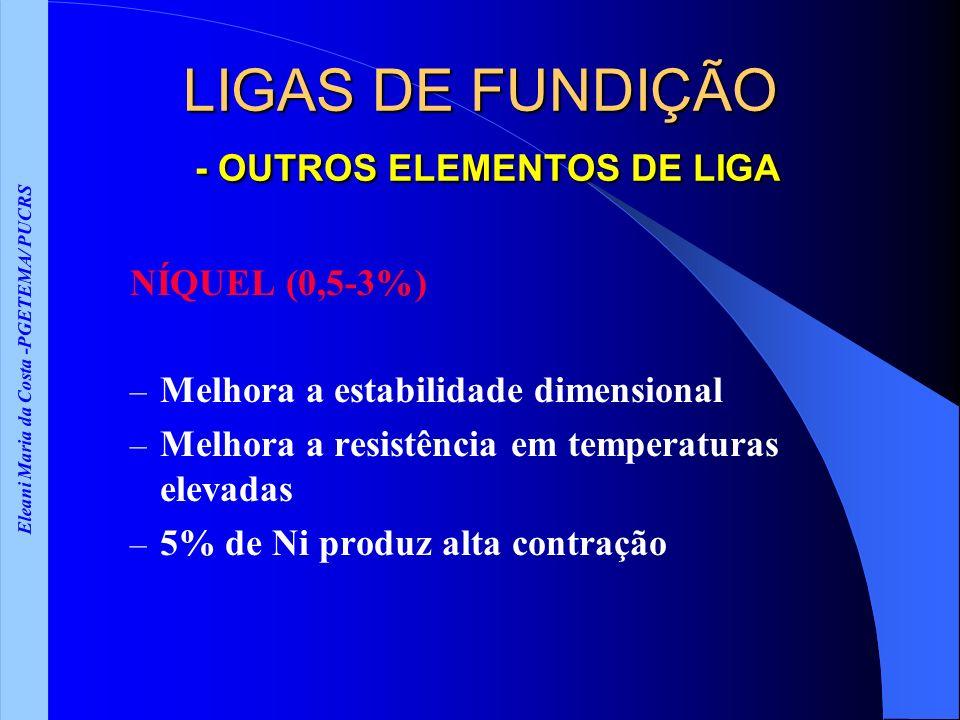 Eleani Maria da Costa -PGETEMA/ PUCRS LIGAS DE FUNDIÇÃO - OUTROS ELEMENTOS DE LIGA NÍQUEL (0,5-3%) – Melhora a estabilidade dimensional – Melhora a re