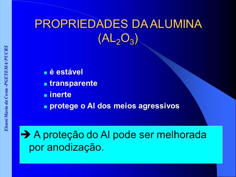 Eleani Maria da Costa -PGETEMA/ PUCRS PROPRIEDADES DA ALUMINA (AL 2 O 3 ) é estável transparente inerte protege o Al dos meios agressivos A proteção do Al pode ser melhorada por anodização.