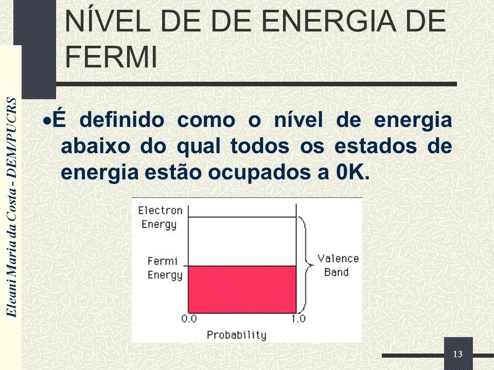 Eleani Maria da Costa - DEM/PUCRS 13 NÍVEL DE DE ENERGIA DE FERMI É definido como o nível de energia abaixo do qual todos os estados de energia estão ocupados a 0K.