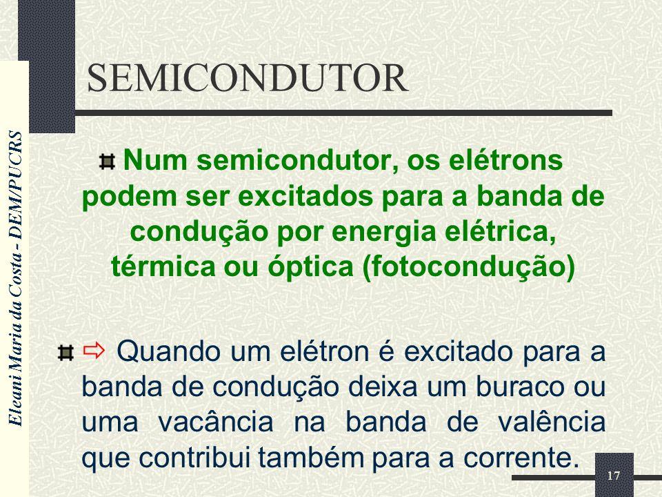 Eleani Maria da Costa - DEM/PUCRS 17 SEMICONDUTOR Num semicondutor, os elétrons podem ser excitados para a banda de condução por energia elétrica, térmica ou óptica (fotocondução) Quando um elétron é excitado para a banda de condução deixa um buraco ou uma vacância na banda de valência que contribui também para a corrente.
