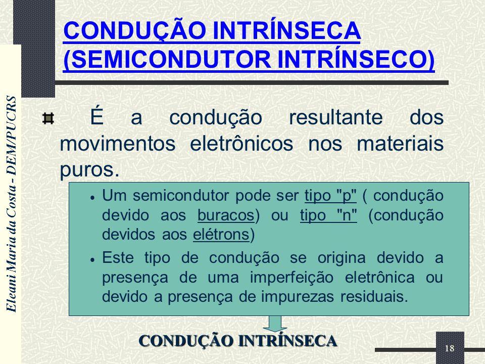Eleani Maria da Costa - DEM/PUCRS 18 É a condução resultante dos movimentos eletrônicos nos materiais puros. Um semicondutor pode ser tipo