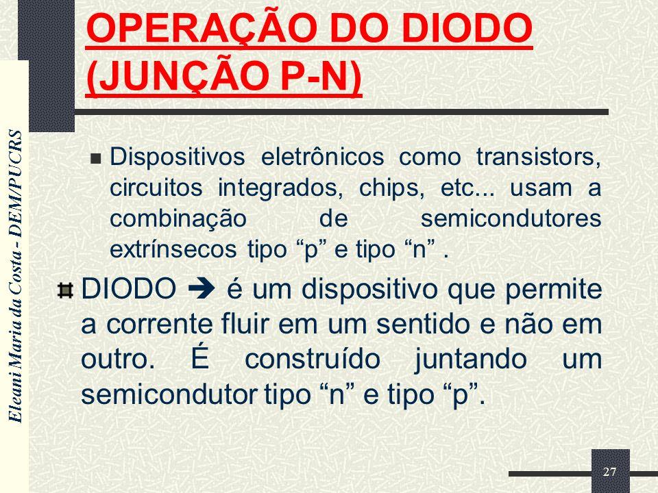Eleani Maria da Costa - DEM/PUCRS 27 OPERAÇÃO DO DIODO (JUNÇÃO P-N) Dispositivos eletrônicos como transistors, circuitos integrados, chips, etc... usa