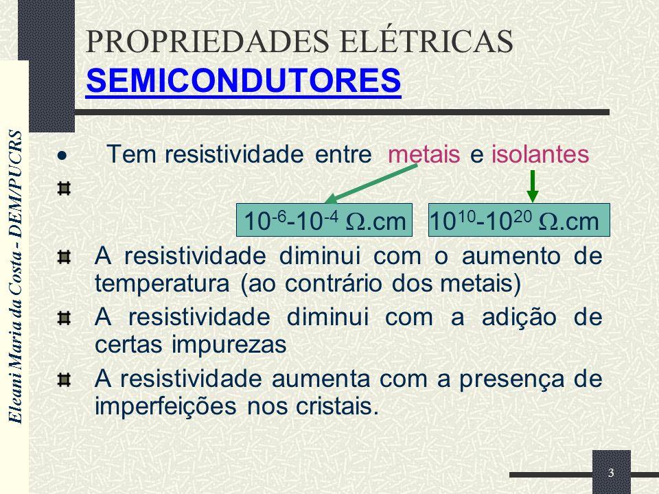 Eleani Maria da Costa - DEM/PUCRS 3 PROPRIEDADES ELÉTRICAS SEMICONDUTORES Tem resistividade entre metais e isolantes 10 -6 -10 -4.cm 10 10 -10 20.cm A resistividade diminui com o aumento de temperatura (ao contrário dos metais) A resistividade diminui com a adição de certas impurezas A resistividade aumenta com a presença de imperfeições nos cristais.