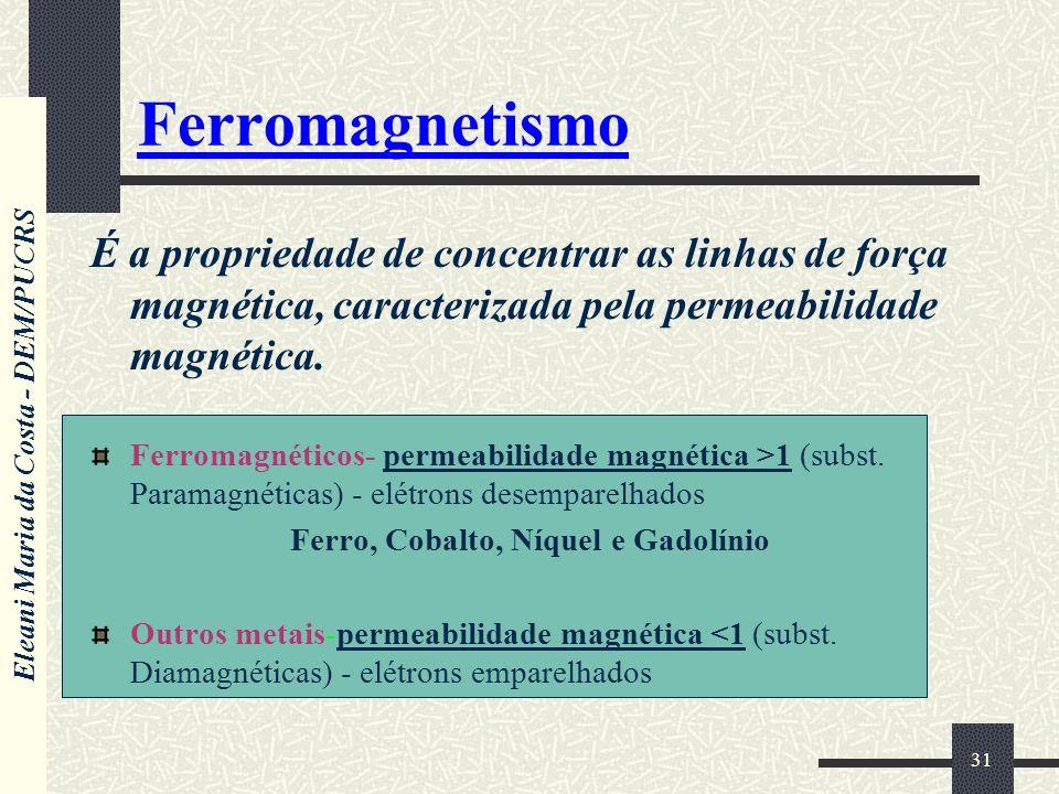 Eleani Maria da Costa - DEM/PUCRS 31 Ferromagnetismo É a propriedade de concentrar as linhas de força magnética, caracterizada pela permeabilidade mag