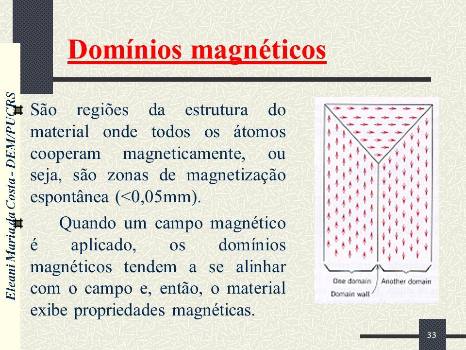 Eleani Maria da Costa - DEM/PUCRS 33 Domínios magnéticos São regiões da estrutura do material onde todos os átomos cooperam magneticamente, ou seja, são zonas de magnetização espontânea (<0,05mm).