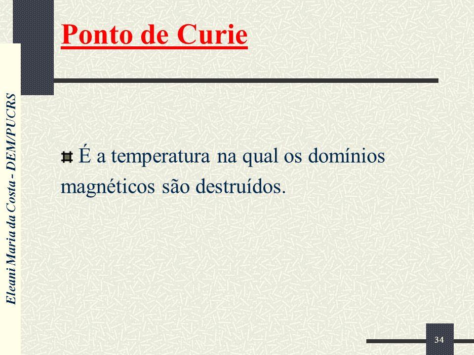 Eleani Maria da Costa - DEM/PUCRS 34 Ponto de Curie É a temperatura na qual os domínios magnéticos são destruídos.