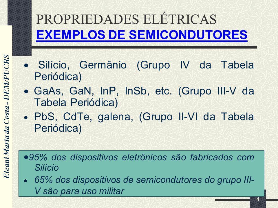 Eleani Maria da Costa - DEM/PUCRS 4 PROPRIEDADES ELÉTRICAS EXEMPLOS DE SEMICONDUTORES Silício, Germânio (Grupo IV da Tabela Periódica) GaAs, GaN, InP,