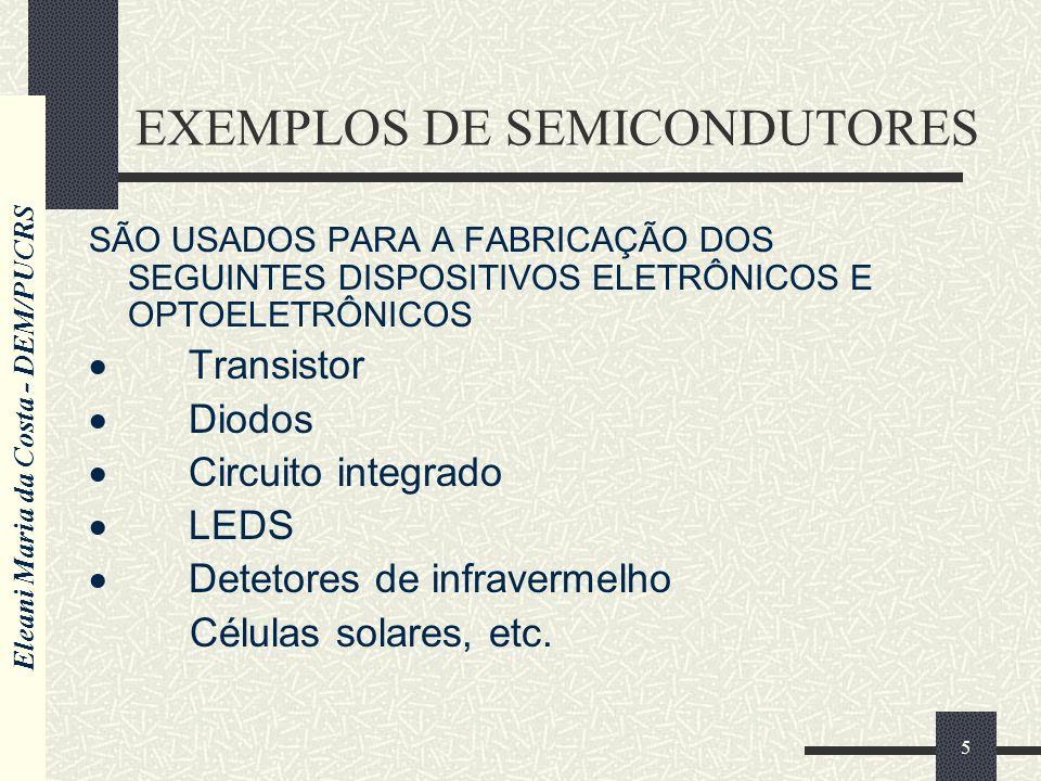 Eleani Maria da Costa - DEM/PUCRS 5 EXEMPLOS DE SEMICONDUTORES SÃO USADOS PARA A FABRICAÇÃO DOS SEGUINTES DISPOSITIVOS ELETRÔNICOS E OPTOELETRÔNICOS Transistor Diodos Circuito integrado LEDS Detetores de infravermelho Células solares, etc.