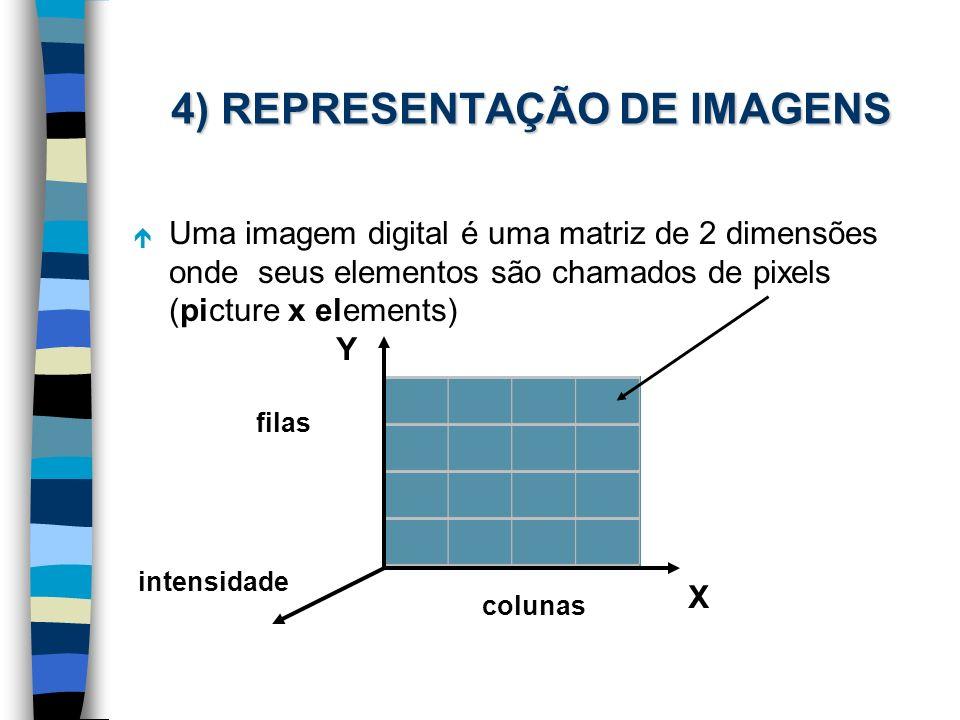 4) REPRESENTAÇÃO DE IMAGENS é Uma imagem digital é uma matriz de 2 dimensões onde seus elementos são chamados de pixels (picture x elements) Y X colun