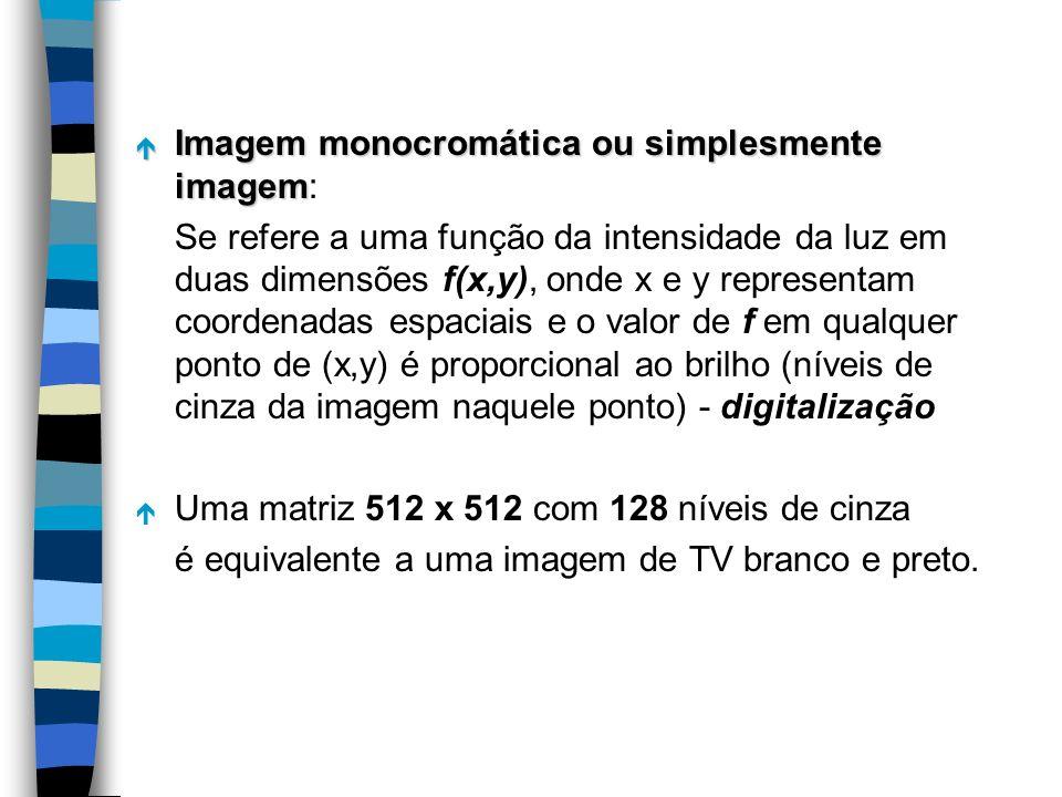é Imagem monocromática ou simplesmente imagem é Imagem monocromática ou simplesmente imagem: Se refere a uma função da intensidade da luz em duas dime
