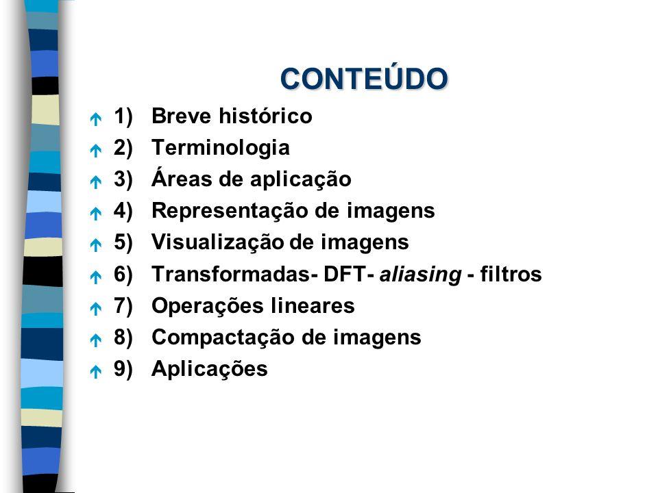 CONTEÚDO é 1) Breve histórico é 2) Terminologia é 3) Áreas de aplicação é 4) Representação de imagens é 5) Visualização de imagens é 6) Transformadas-