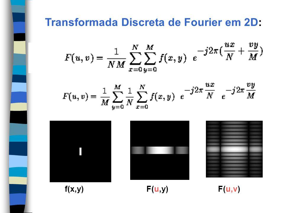 Transformada Discreta de Fourier em 2D: f(x,y) F(u,y) F(u,v)
