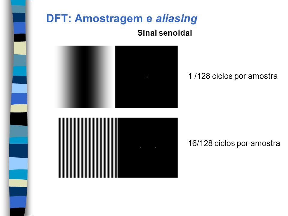 DFT: Amostragem e aliasing 1 /128 ciclos por amostra 16/128 ciclos por amostra Sinal senoidal