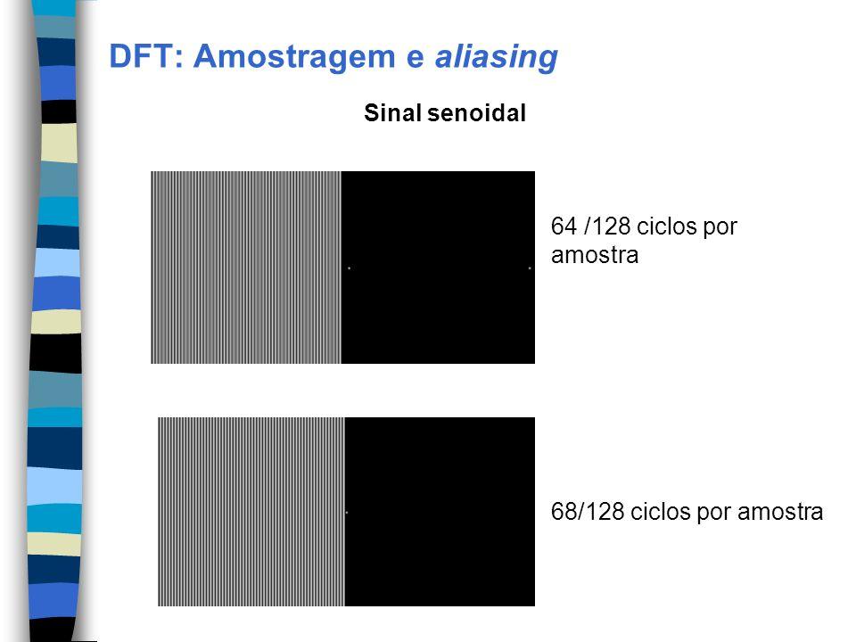 DFT: Amostragem e aliasing 64 /128 ciclos por amostra 68/128 ciclos por amostra Sinal senoidal