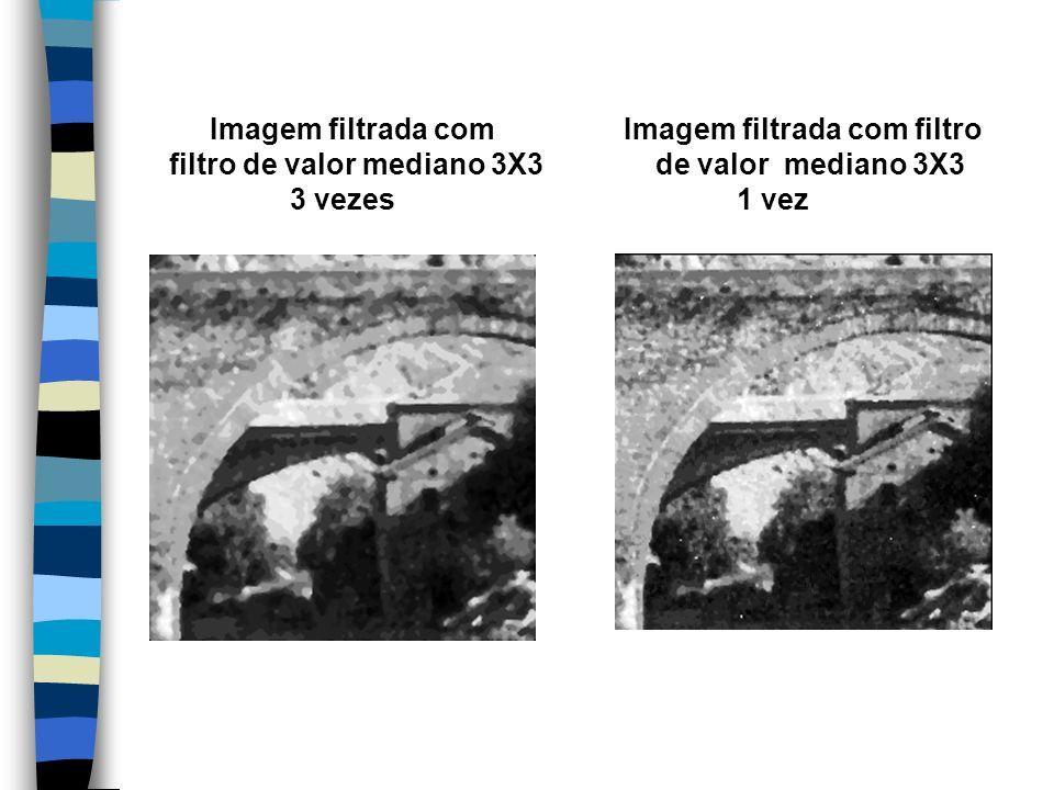 Imagem filtrada com Imagem filtrada com filtro filtro de valor mediano 3X3 de valor mediano 3X3 3 vezes 1 vez