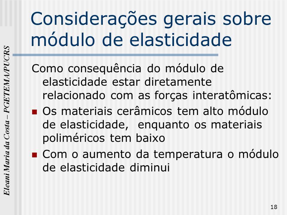 Eleani Maria da Costa – PGETEMA/PUCRS 18 Considerações gerais sobre módulo de elasticidade Como consequência do módulo de elasticidade estar diretamen
