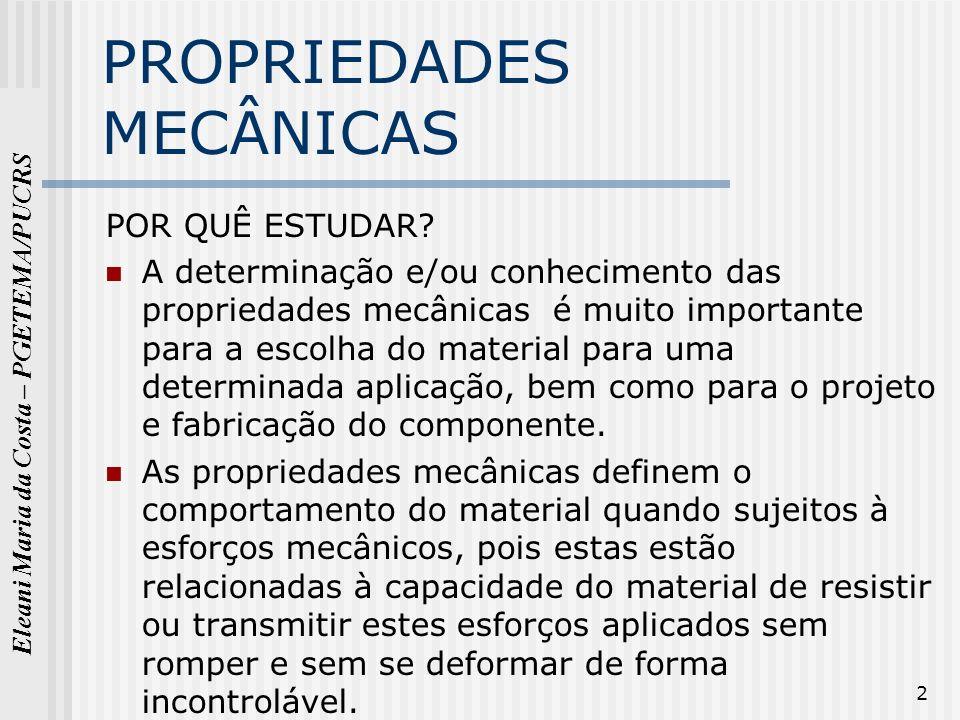 Eleani Maria da Costa – PGETEMA/PUCRS 3 Principais propriedades mecânicas Resistência à tração Elasticidade Ductilidade Fluência Fadiga Dureza Tenacidade,....