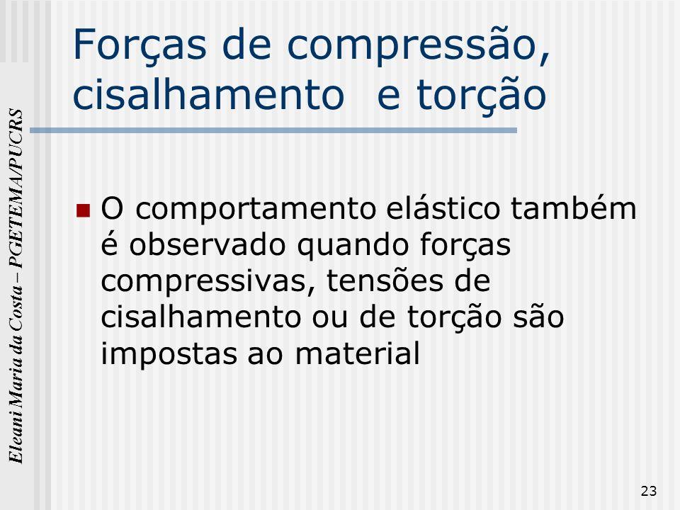 Eleani Maria da Costa – PGETEMA/PUCRS 23 Forças de compressão, cisalhamento e torção O comportamento elástico também é observado quando forças compres