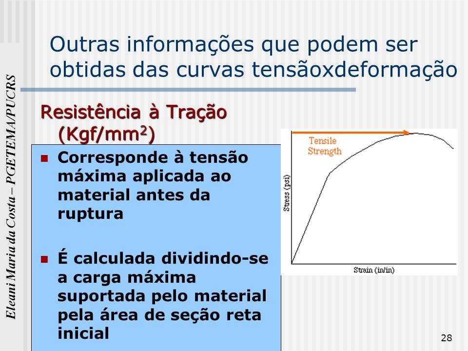 Eleani Maria da Costa – PGETEMA/PUCRS 28 Outras informações que podem ser obtidas das curvas tensãoxdeformação Resistência à Tração (Kgf/mm 2 ) Corres