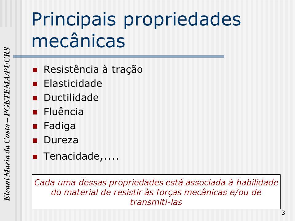 Eleani Maria da Costa – PGETEMA/PUCRS 3 Principais propriedades mecânicas Resistência à tração Elasticidade Ductilidade Fluência Fadiga Dureza Tenacid