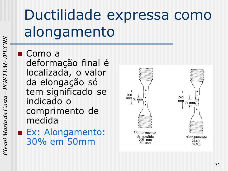 Eleani Maria da Costa – PGETEMA/PUCRS 31 Ductilidade expressa como alongamento Como a deformação final é localizada, o valor da elongação só tem signi