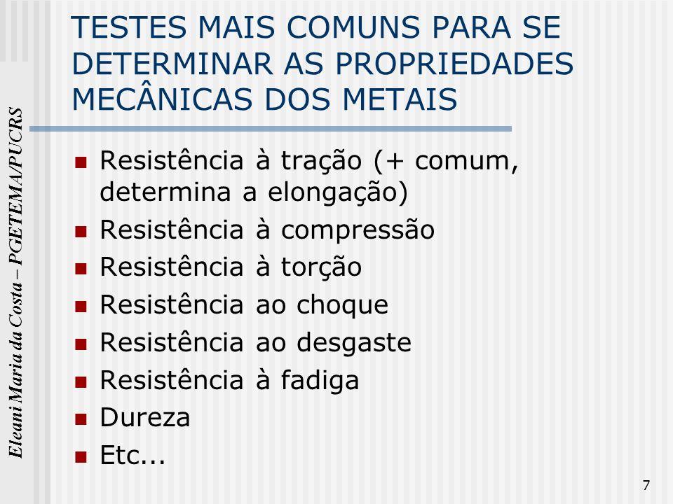 Eleani Maria da Costa – PGETEMA/PUCRS 7 TESTES MAIS COMUNS PARA SE DETERMINAR AS PROPRIEDADES MECÂNICAS DOS METAIS Resistência à tração (+ comum, dete