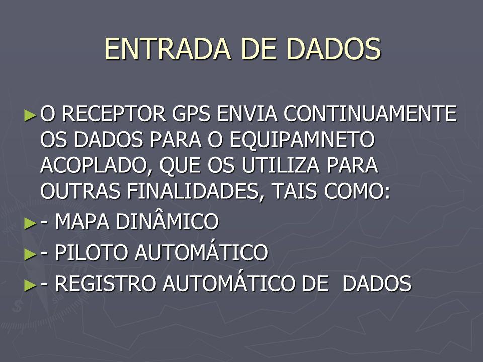 ENTRADA DE DADOS O RECEPTOR GPS ENVIA CONTINUAMENTE OS DADOS PARA O EQUIPAMNETO ACOPLADO, QUE OS UTILIZA PARA OUTRAS FINALIDADES, TAIS COMO: O RECEPTO
