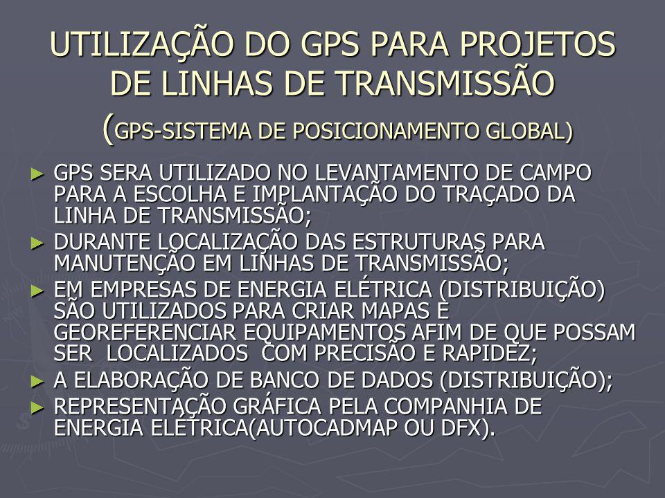UTILIZAÇÃO DO GPS PARA PROJETOS DE LINHAS DE TRANSMISSÃO ( GPS-SISTEMA DE POSICIONAMENTO GLOBAL) GPS SERA UTILIZADO NO LEVANTAMENTO DE CAMPO PARA A ES