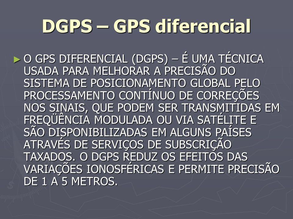 DGPS – GPS diferencial O GPS DIFERENCIAL (DGPS) – É UMA TÉCNICA USADA PARA MELHORAR A PRECISÃO DO SISTEMA DE POSICIONAMENTO GLOBAL PELO PROCESSAMENTO