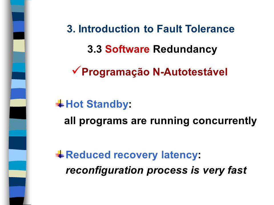 3. Introduction to Fault Tolerance 3.3 Software Redundancy Programação N-Autotestável Program Version 1 Acceptance Tests Selection Logic Program Outpu