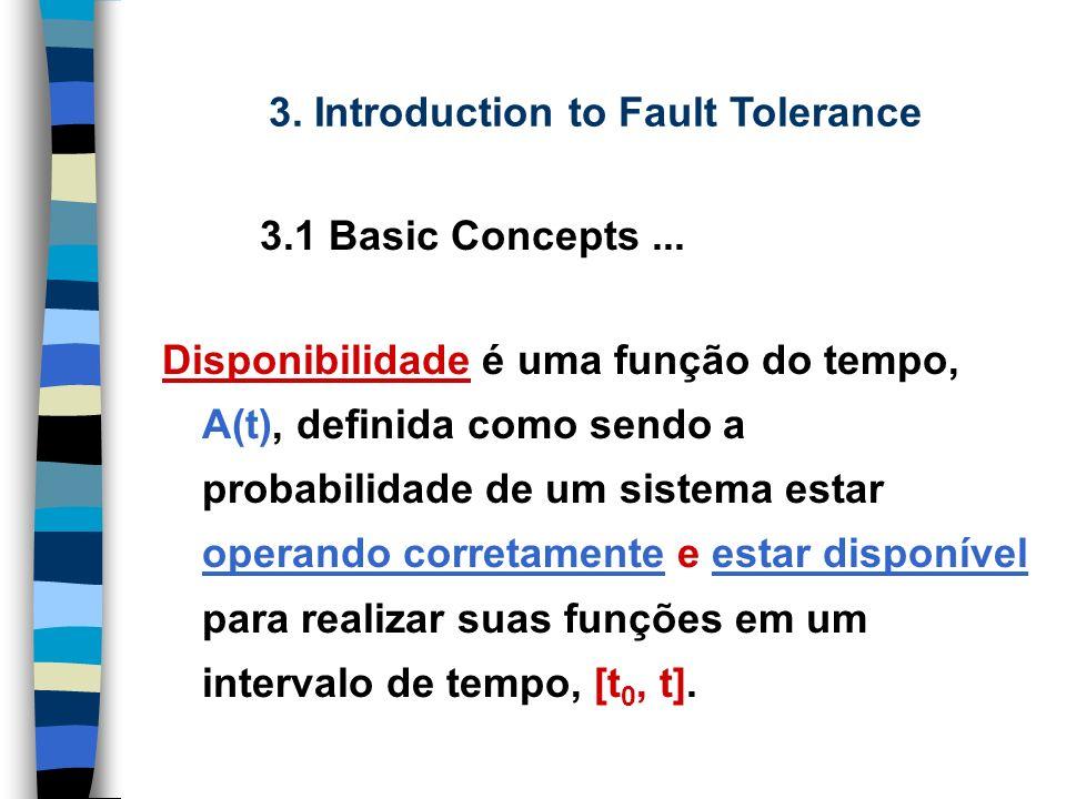 Disponibilidade é uma função do tempo, A(t), definida como sendo a probabilidade de um sistema estar operando corretamente e estar disponível para realizar suas funções em um intervalo de tempo, [t 0, t].