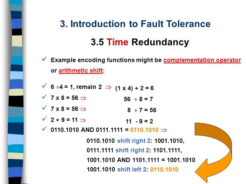 3. Introduction to Fault Tolerance 3.5 Time Redundancy Detecção de Falhas Permanentes Computation Encode Data Decode Result Store Result Store Result