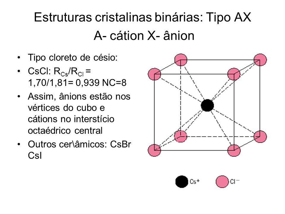 Estruturas cristalinas binárias: Tipo AX A- cátion X- ânion Tipo cloreto de césio: CsCl: R Cs /R Cl = 1,70/1,81= 0,939 NC=8 Assim, ânions estão nos vé