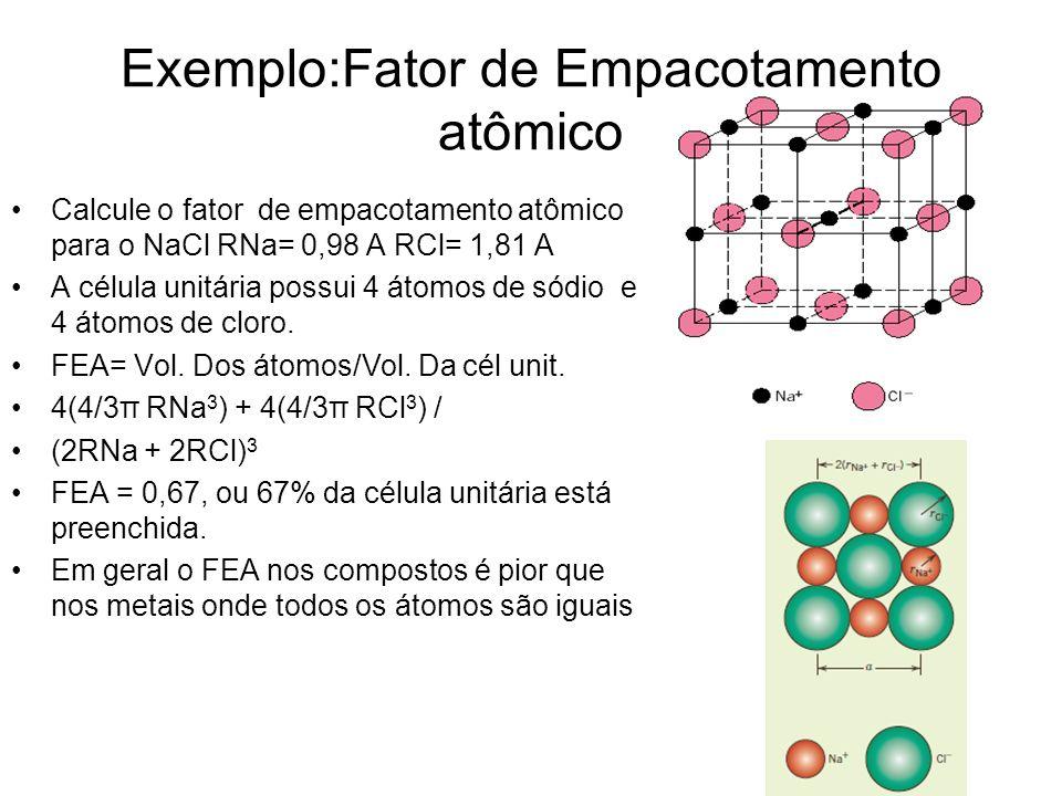 Exemplo:Fator de Empacotamento atômico Calcule o fator de empacotamento atômico para o NaCl RNa= 0,98 A RCl= 1,81 A A célula unitária possui 4 átomos