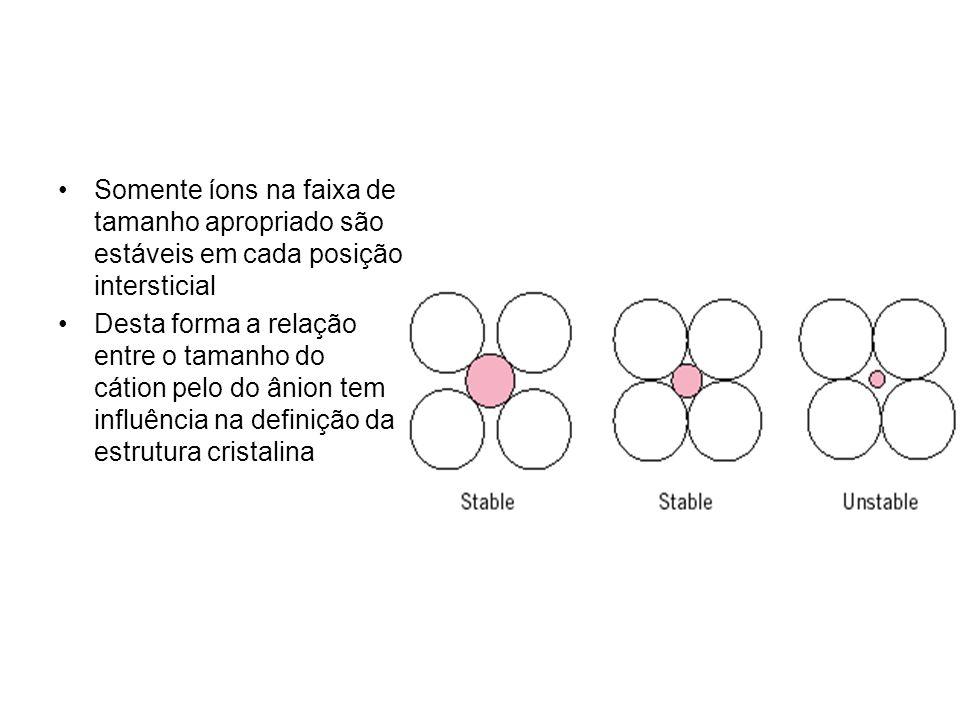 Somente íons na faixa de tamanho apropriado são estáveis em cada posição intersticial Desta forma a relação entre o tamanho do cátion pelo do ânion te