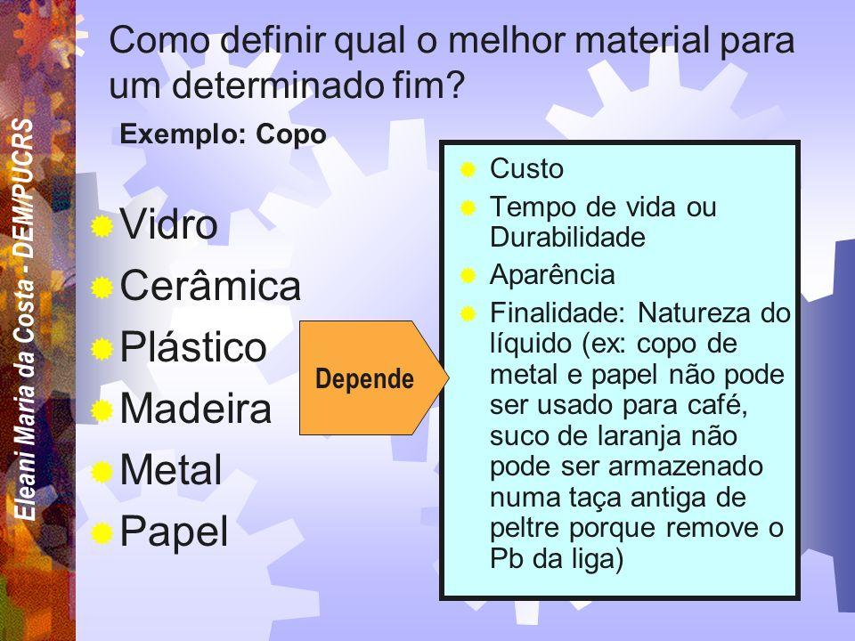 Eleani Maria da Costa - DEM/PUCRS Entre 40000 e 80000 diferentes, contando as variantes de tratamento térmico e composição de cada material QUANTOS MA