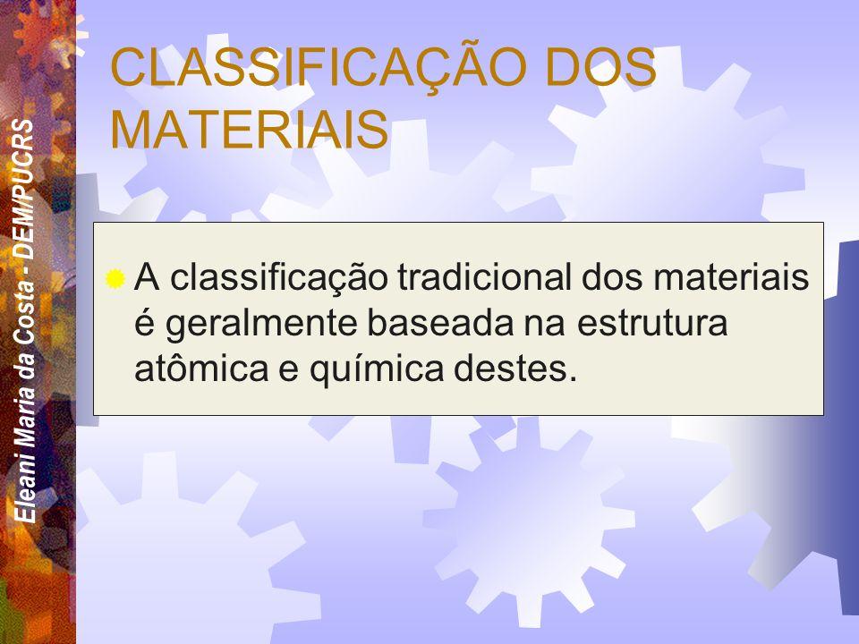 Eleani Maria da Costa - DEM/PUCRS Quais os critérios que um engenheiro deve adotar para selecionar um material entre tantos outros? Em raras ocasiões