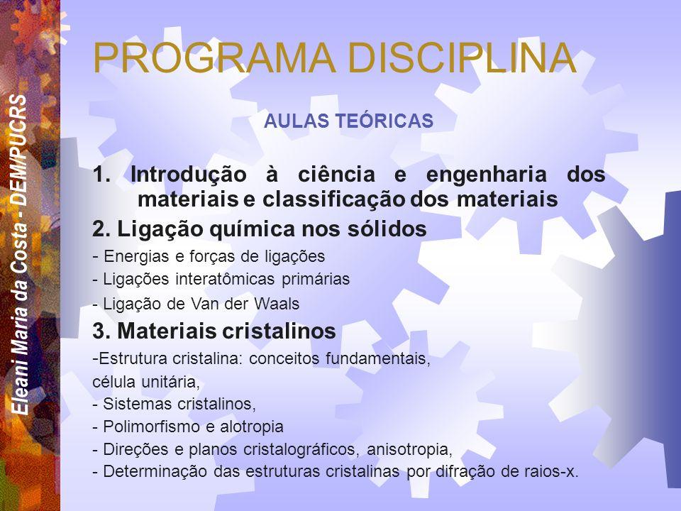Eleani Maria da Costa - DEM/PUCRS ASSUNTO 1. Introdução à ciência e engenharia dos materiais e classificação dos materiais