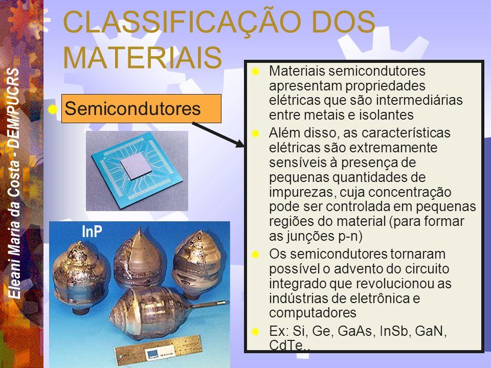 CLASSIFICAÇÃO DOS MATERIAIS Compósitos Materiais compósitos são constituídos de mais de um tipo de material insolúveis entre si. Os compósitos são des
