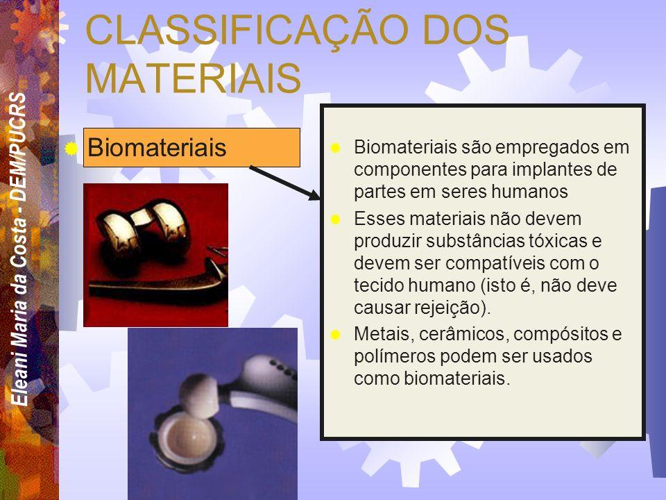 Eleani Maria da Costa - DEM/PUCRS CLASSIFICAÇÃO DOS MATERIAIS Semicondutores Materiais semicondutores apresentam propriedades elétricas que são interm