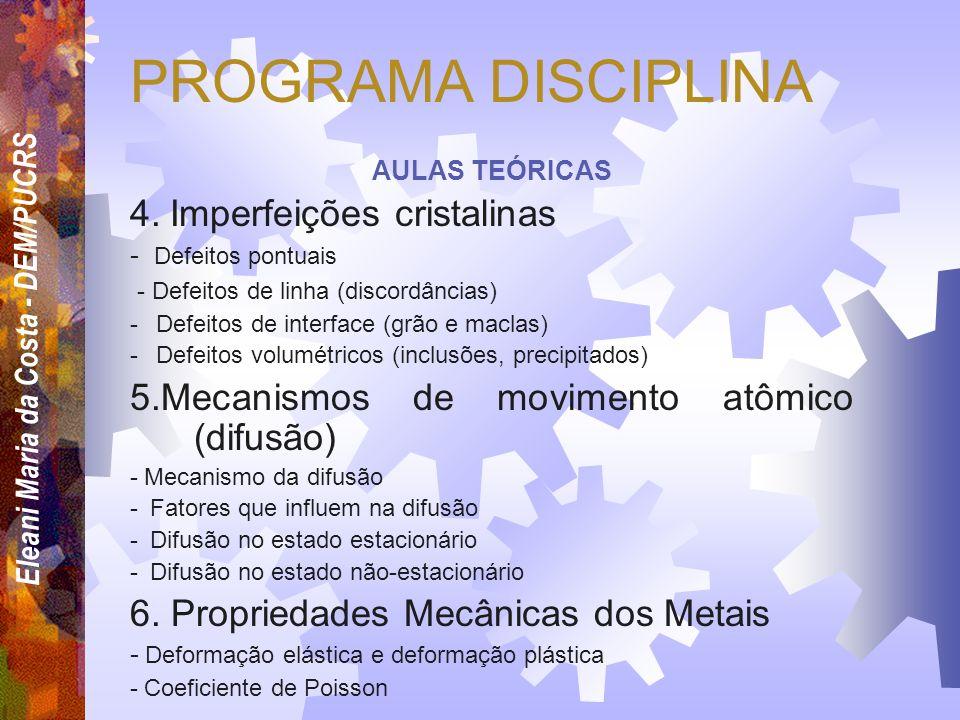 Eleani Maria da Costa - DEM/PUCRS PROGRAMA DISCIPLINA AULAS TEÓRICAS 1. Introdução à ciência e engenharia dos materiais e classificação dos materiais