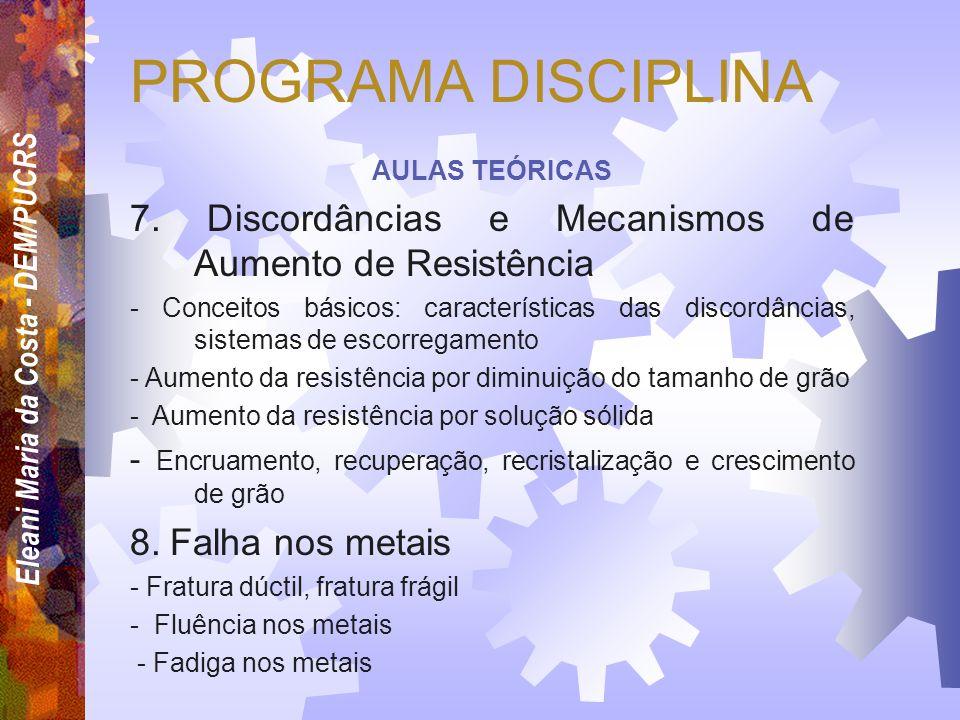 Eleani Maria da Costa - DEM/PUCRS PROGRAMA DISCIPLINA AULAS TEÓRICAS 4. Imperfeições cristalinas - Defeitos pontuais - Defeitos de linha (discordância