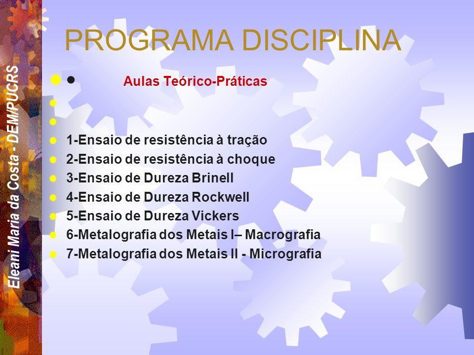 Eleani Maria da Costa - DEM/PUCRS PROGRAMA DISCIPLINA CONTEÚDOS EXTRAS 11-PROPRIEDADES ELÉTRICAS E MAGNÉTICAS 12- CORROSÃO E DEGRADAÇÃO DOS MATERIAIS
