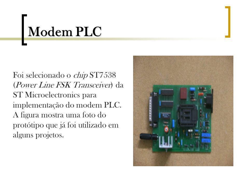 Modem PLC Foi selecionado o chip ST7538 (Power Line FSK Transceiver) da ST Microelectronics para implementação do modem PLC. A figura mostra uma foto